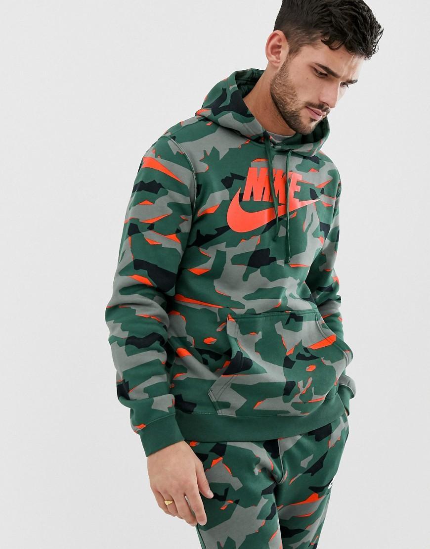 3f01f4c3c6ae39 Nike Club Camo Hoodie In Green in Green for Men - Lyst