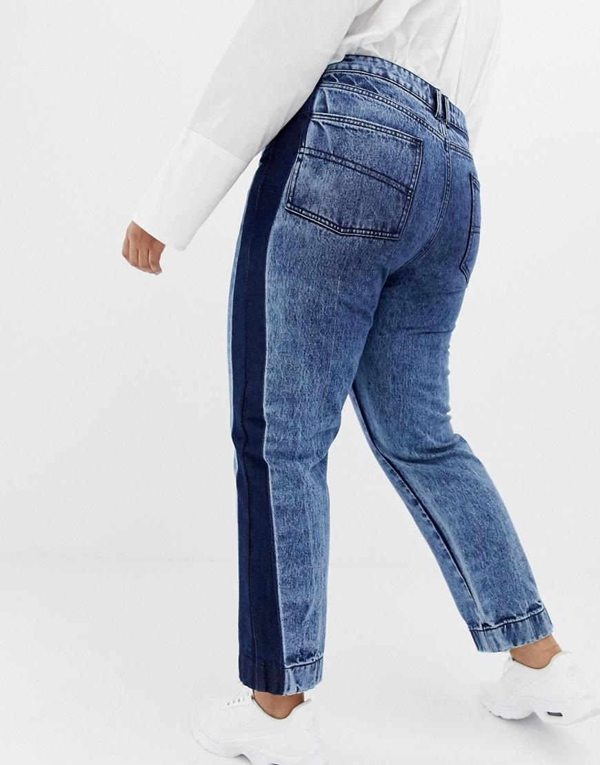 f98c0b7ab93 Lyst - Collusion Plus X005 Straight Leg Jeans In Acid Wash With Contrast  Panel in Blue