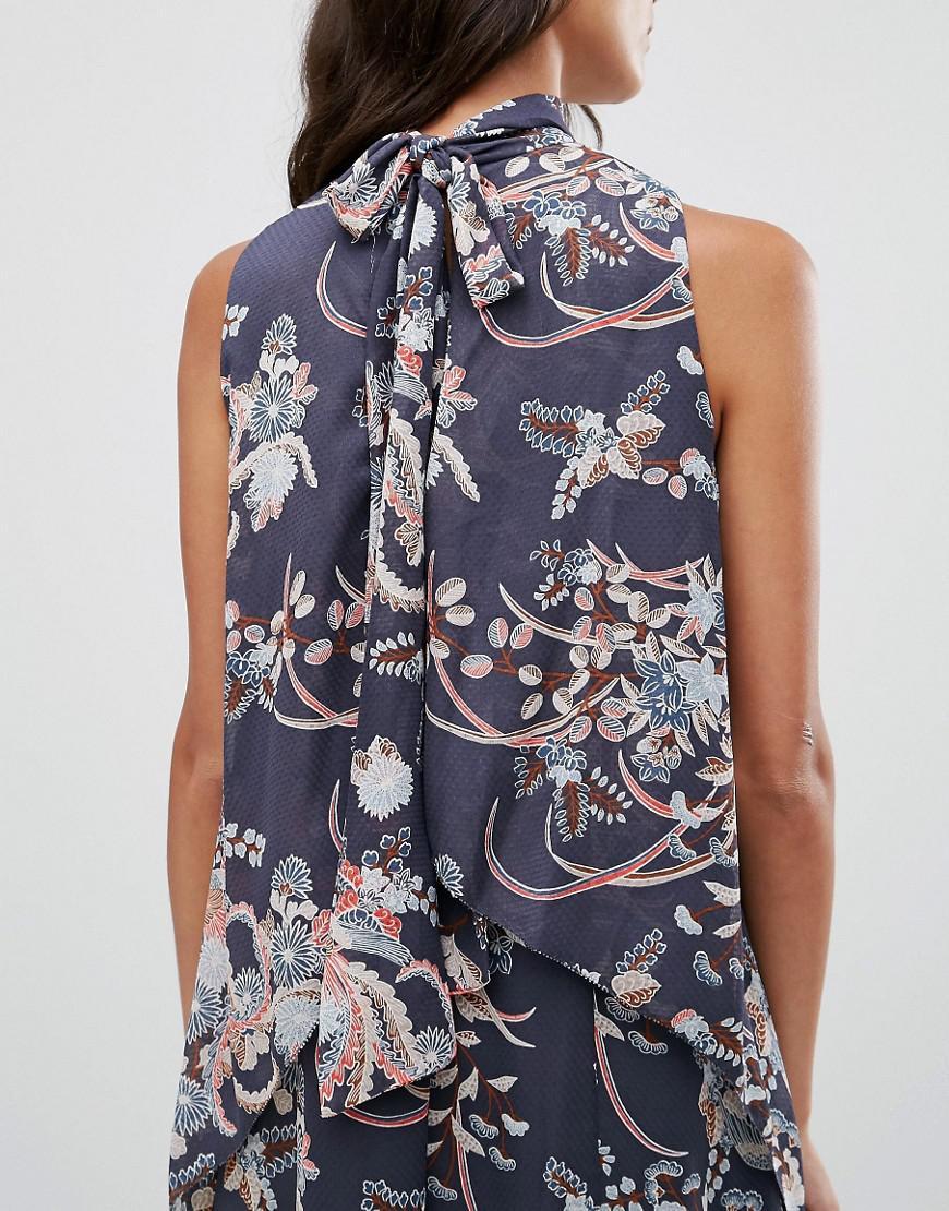 Pepe Jeans Denim Candice Floral Print Cold Shoulder Dress in Navy (Blue)