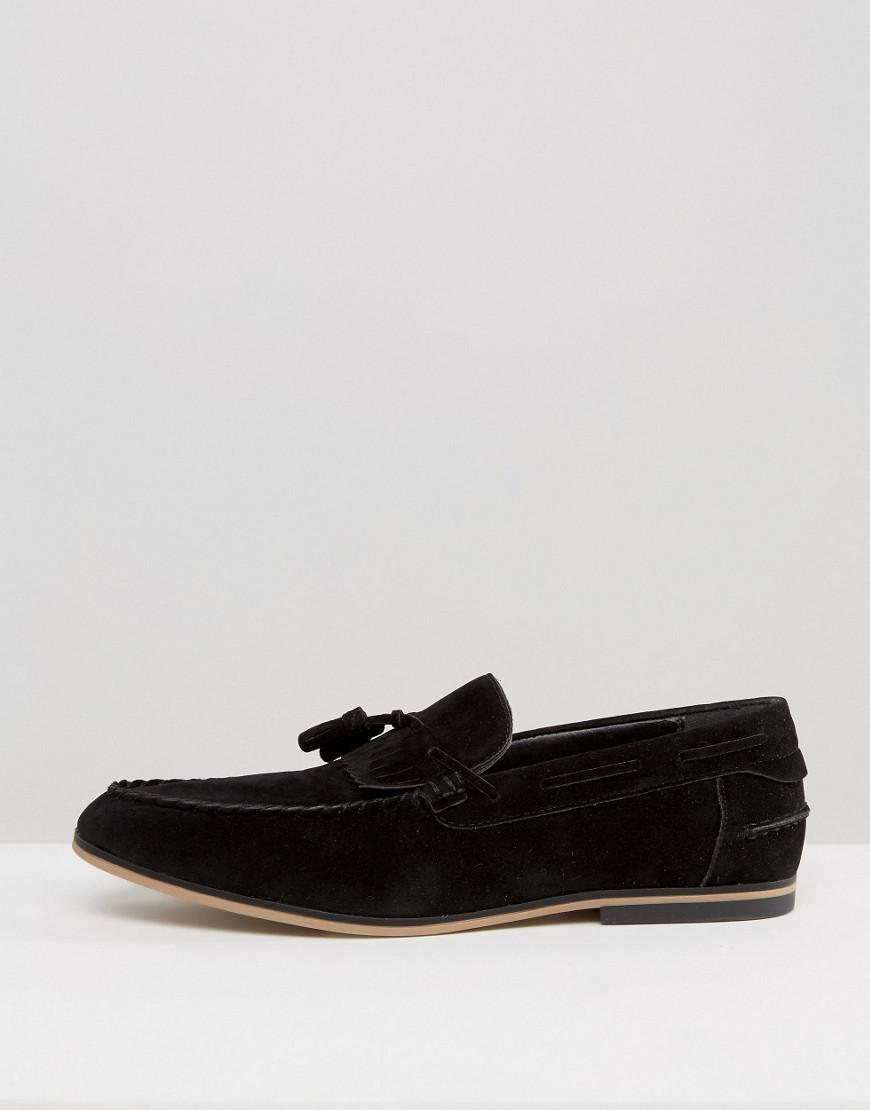 7ab8666f01b Asos Asos Tassel Loafers In Black Faux Suede With Fringe in Black for Men -  Lyst