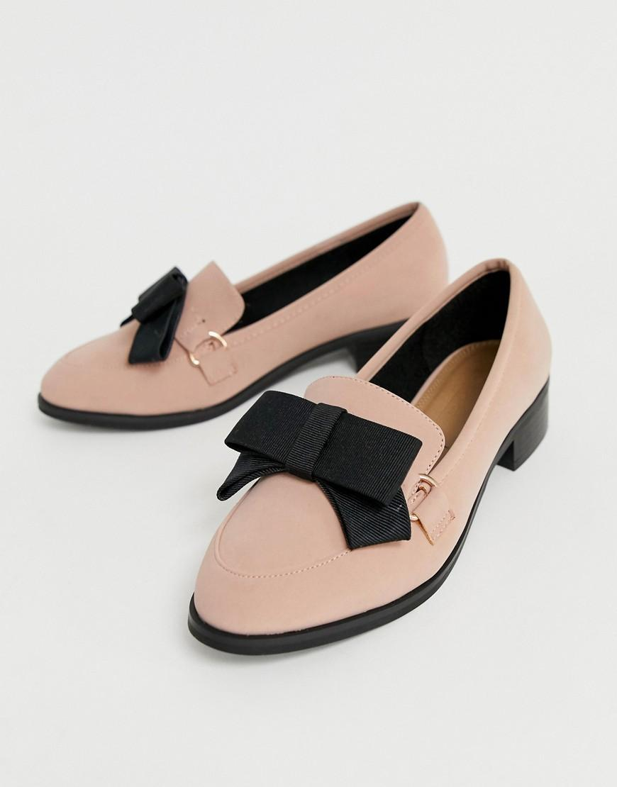 77d4a41697aa Lyst - ASOS Montie Bow Flat Shoes in Pink