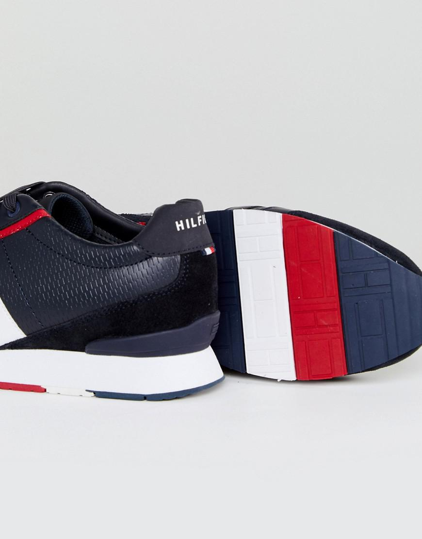 c0754cc8b18a Lyst - Tommy Hilfiger Leeds Leather Trainers In Navy in Blue for Men