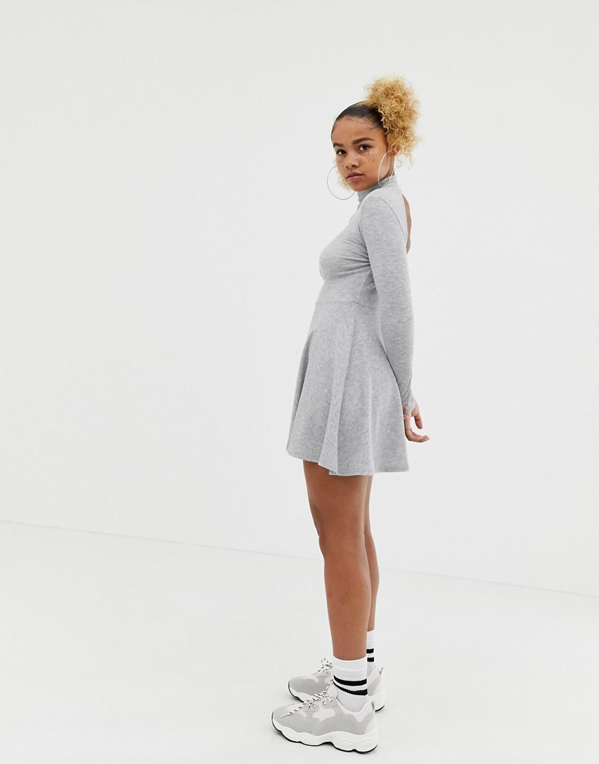 e370de3f3a45 Lyst - Collusion Petite Skater Dress With High Neck And Open Back in Gray