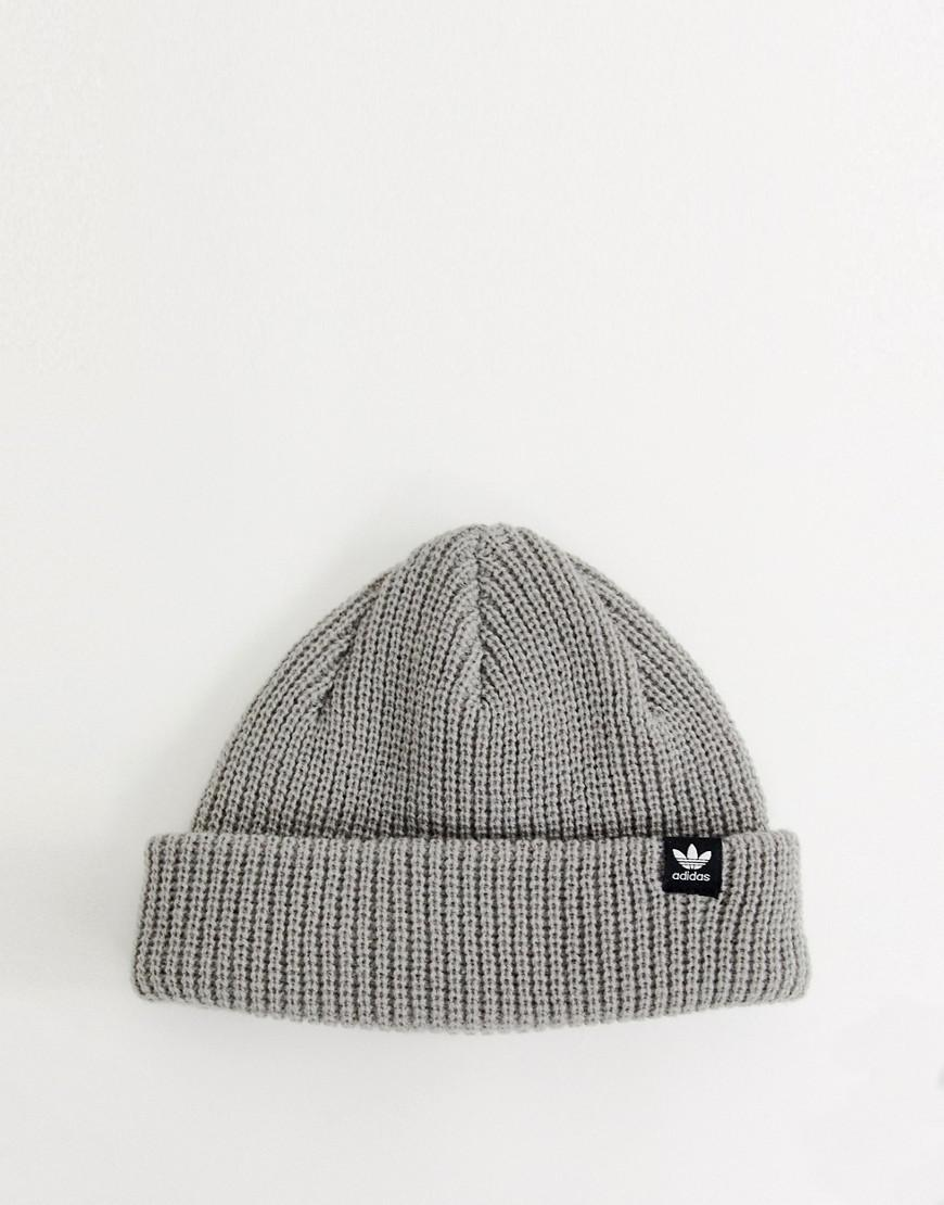 04be1072f814f Adidas Originals Patch Logo Ribbed Beanie In Gray