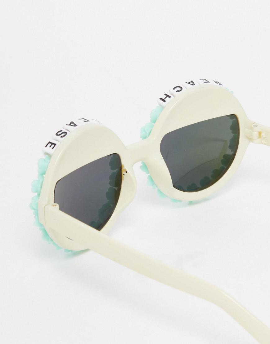 Rad & Refined Rad + Refined Beach Please Round Sunglasses With Mirror Lense in Blue