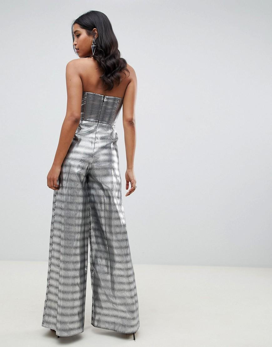 9652a70a957 Lyst - ASOS Structured Bandeau Jumpsuit With Split Leg In Silver Jacquard  in Metallic