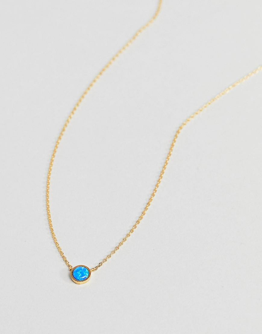 Orelia Gold Plated Opal Stone Ditsy Necklace in Metallic
