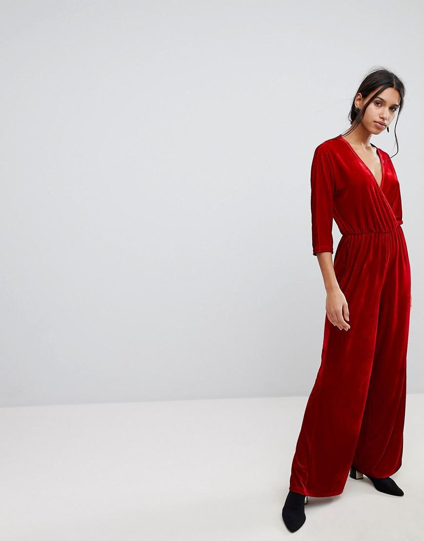 710a51047fa Lyst - Stradivarius Velvet Wrap Front Jumpsuit in Red