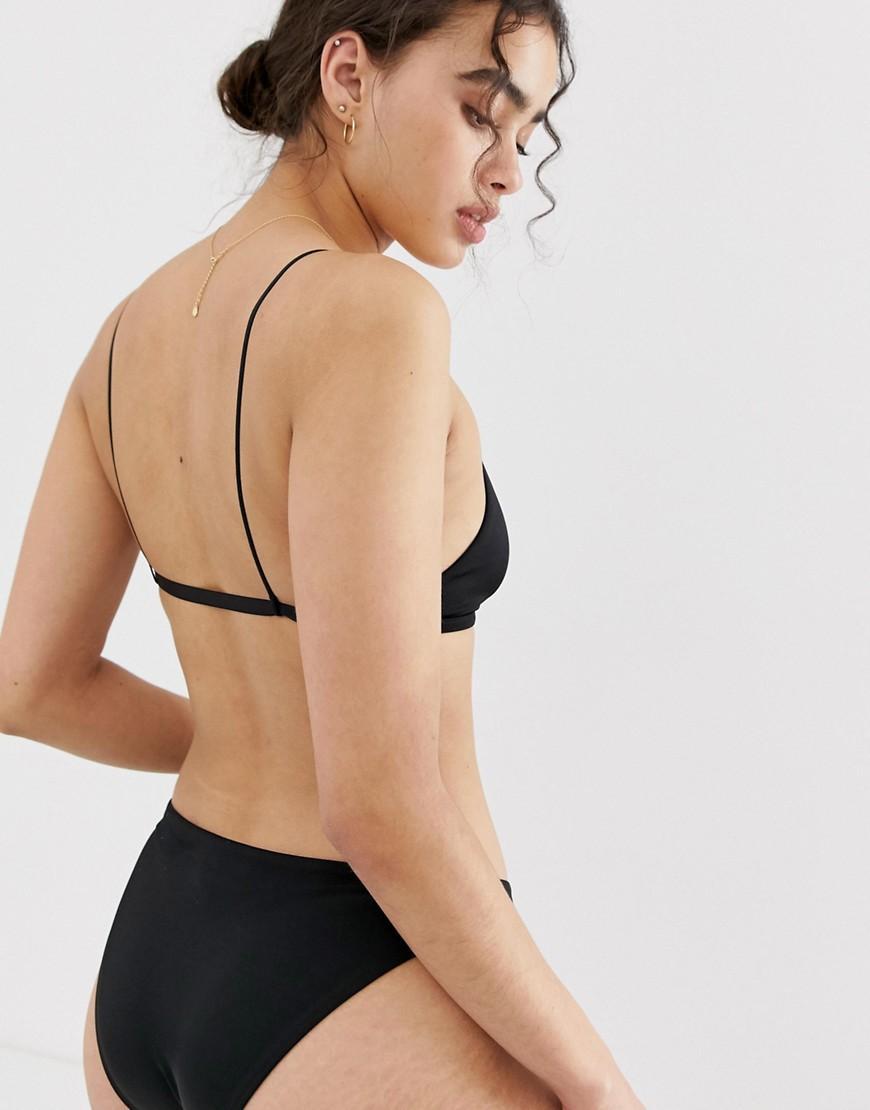 085abfdca0d5bb Lyst - Weekday Triangle Bikini Top In Black in Black