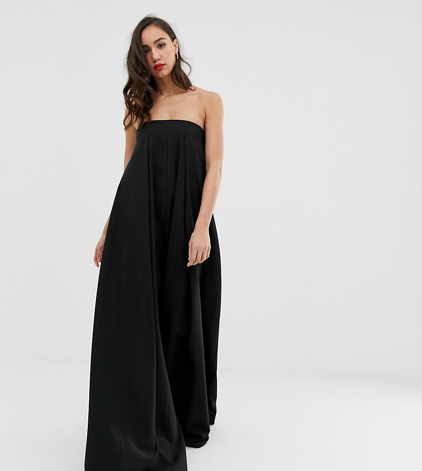94f7ea09f5a Lyst - ASOS Asos Edition Tall Bandeau Wide Leg Jumpsuit in Black