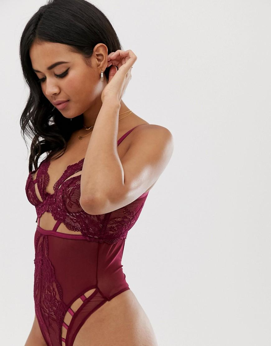 cd9afd37c0c046 ASOS. Women s Red Asos Design Sabella Cut Out Lace   Mesh Underwire Bodysuit