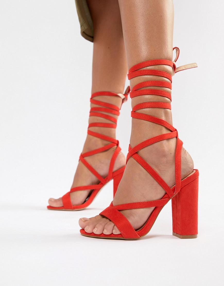 baa7c16c52b Lyst - Public Desire Julia Red Block Heel Tie Up Sandals in Red