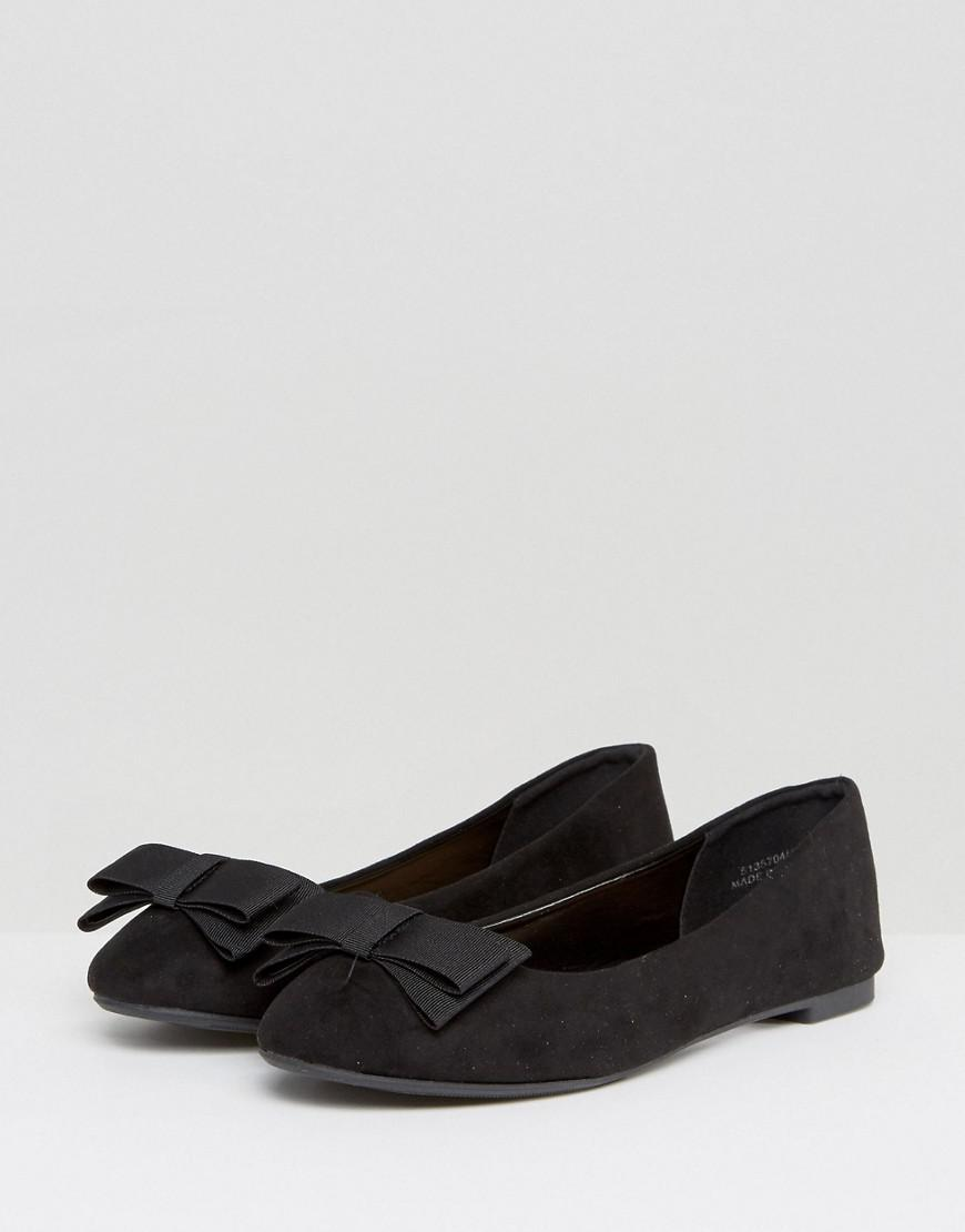 a8f8dfe978 Lyst - New Look Bow Front Ballet Pump in Black