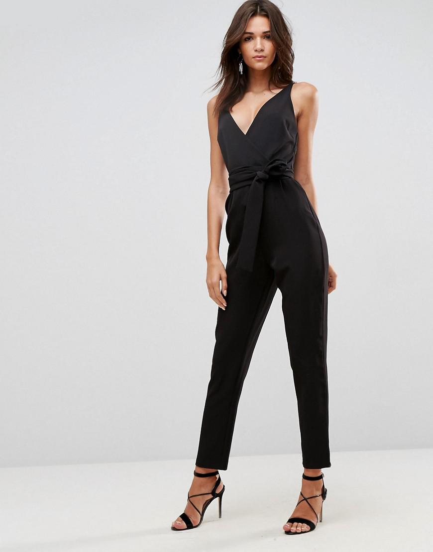 Asos Womens Wrap Front Jumpsuit With Long Sleevesi Black - Jumpsuits & Rompers