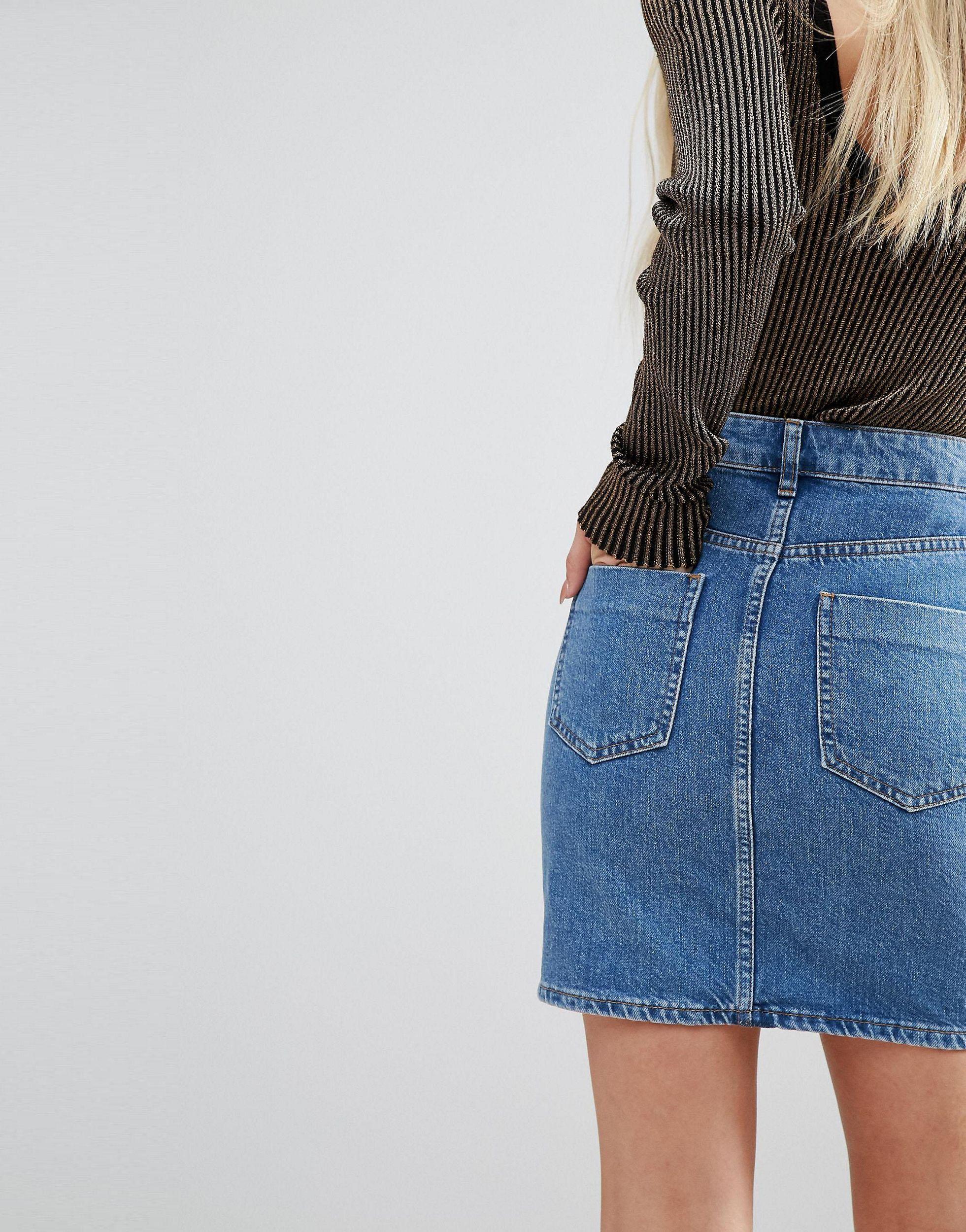 Jupe taille haute en jean authentique - moyen délavé Jean ASOS en coloris Bleu