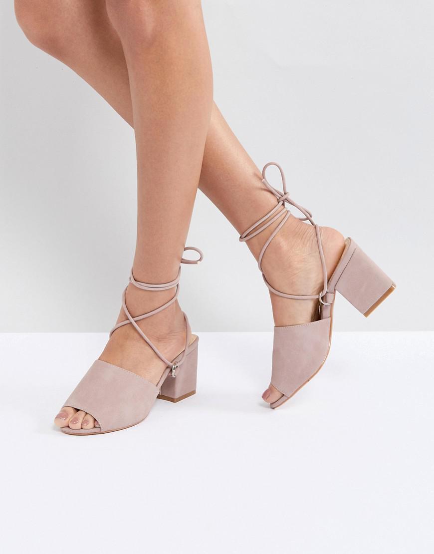 741630d4fff Public Desire Paddington Pink Tie Up Block Heeled Sandals - Lyst