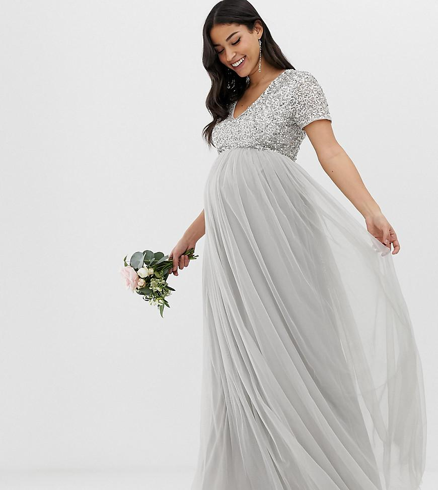 2f4406d24 Maya Maternity. Women s Gray Bridesmaid V Neck Maxi Tulle Dress With Tonal  Delicate Sequins In ...