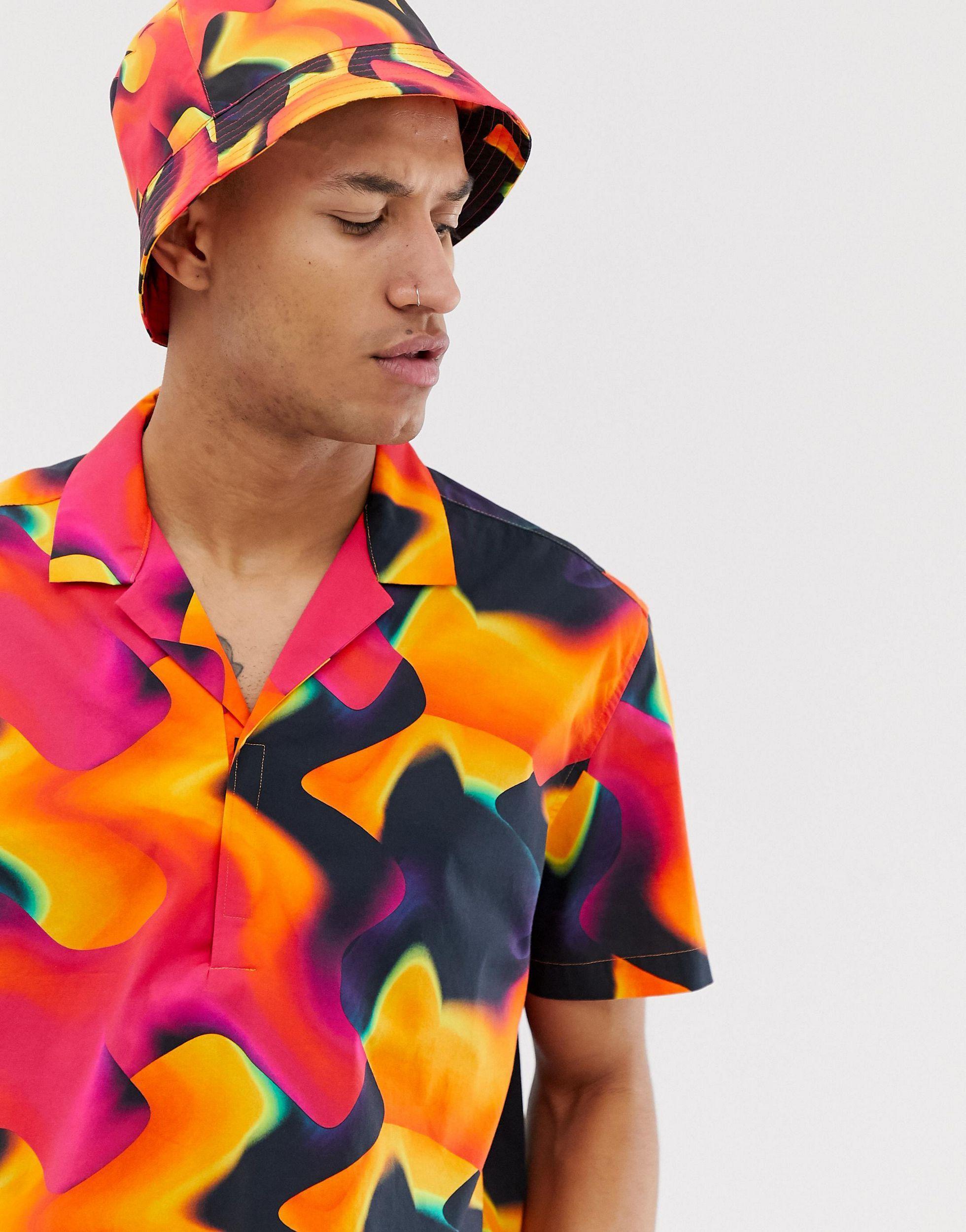 ASOS Katoen Combi-set Van Ruimvallend Overhemd Zonder Sluiting in het Zwart voor heren