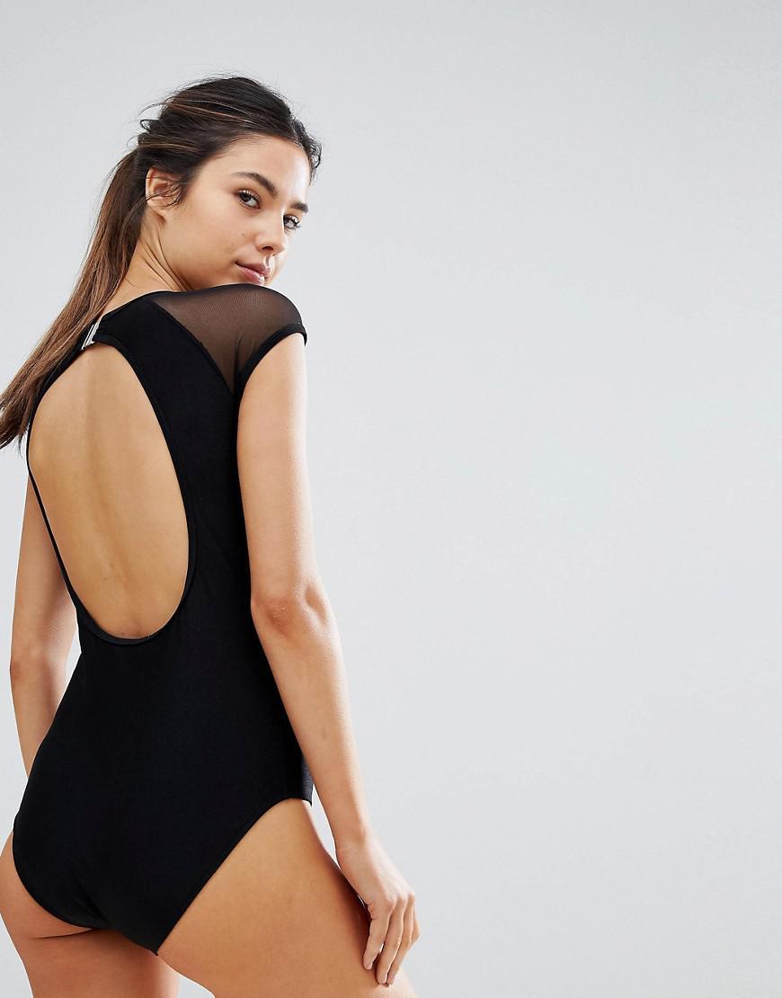 b46962ab8e Lyst - UNIQUE21 Unique 21 Mesh Cap Sleeve Swimsuit With Open Back in ...