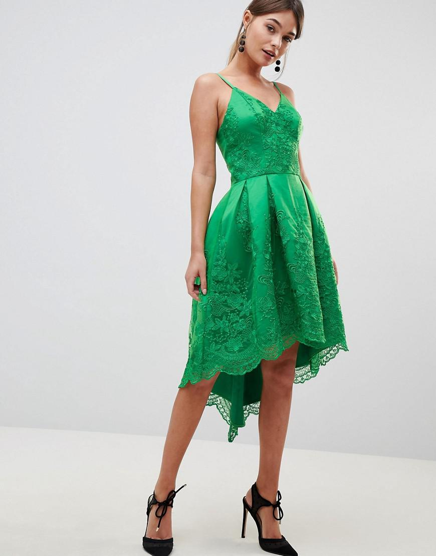 1360b44fccd3 Lyst - Chi Chi London Premium Lace Dress With Cami Strap in Green