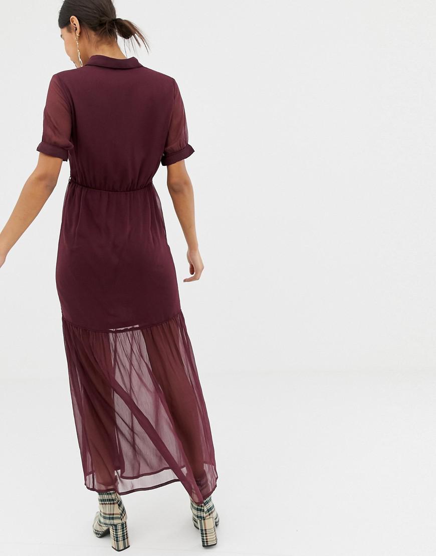 5718f67d3b9c0 Lyst - Vero Moda Tiered Maxi Tie Waist Dress in Purple