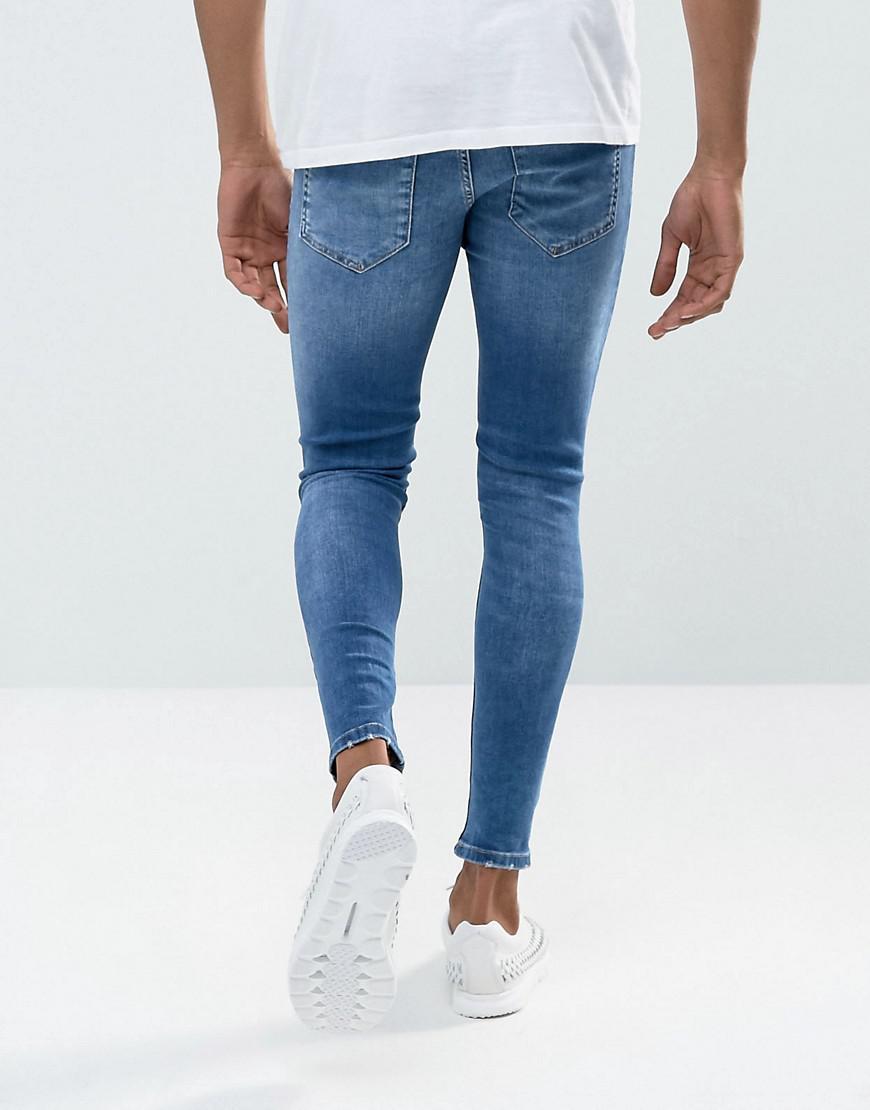 The en Gym angustioso King con lavado azul de pitillo súper Gris Jeans  medio FEwPqvB 91c53f2b6d3