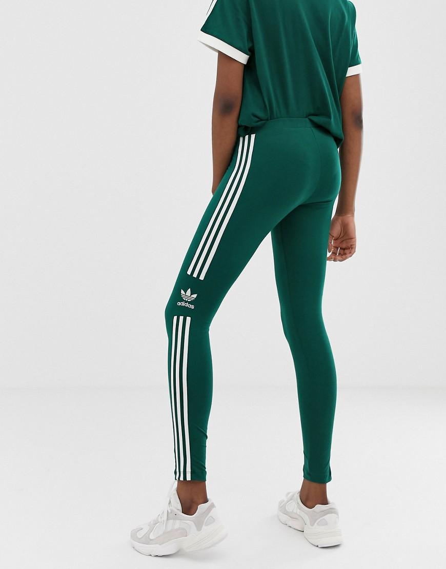 c0250e43335 adidas Originals Adicolor Three Stripe Trefoil legging In Green in Green -  Lyst