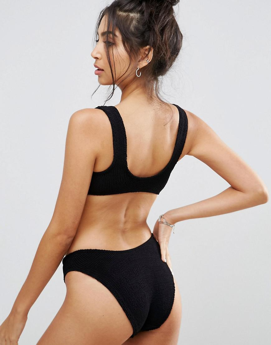 309d38237a666 Lyst - ASOS Mix And Match Crinkle High Leg Hipster Bikini Bottom in Black