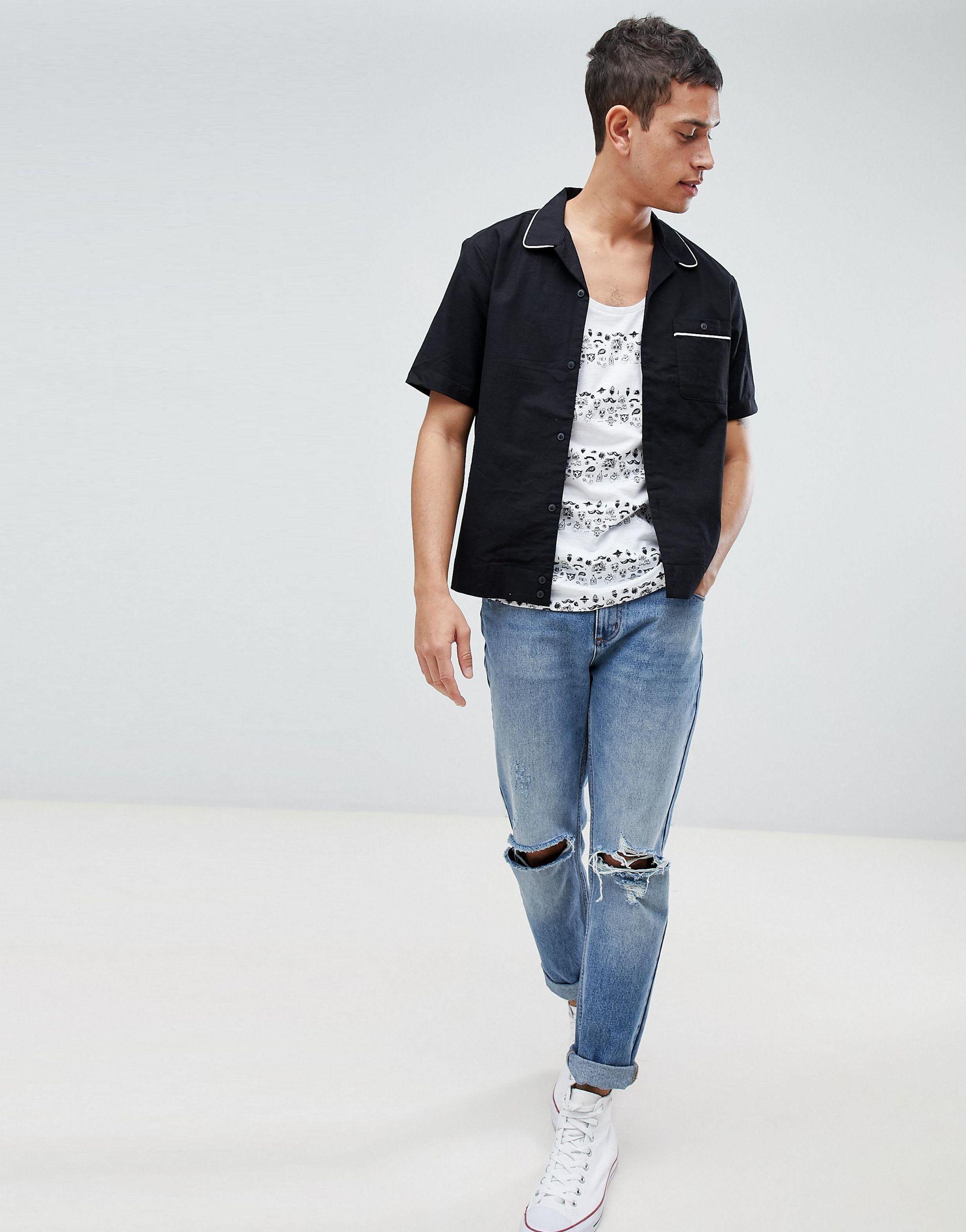 Tom Tailor Denim Hemd Met Fijne Doodshoofdprint in het Wit voor heren