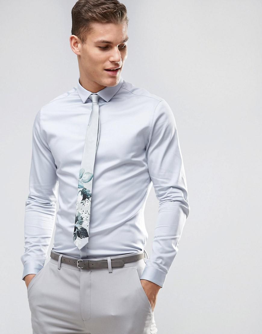 ASOS. Men's Wedding Slim Fit Sateen Shirt ...