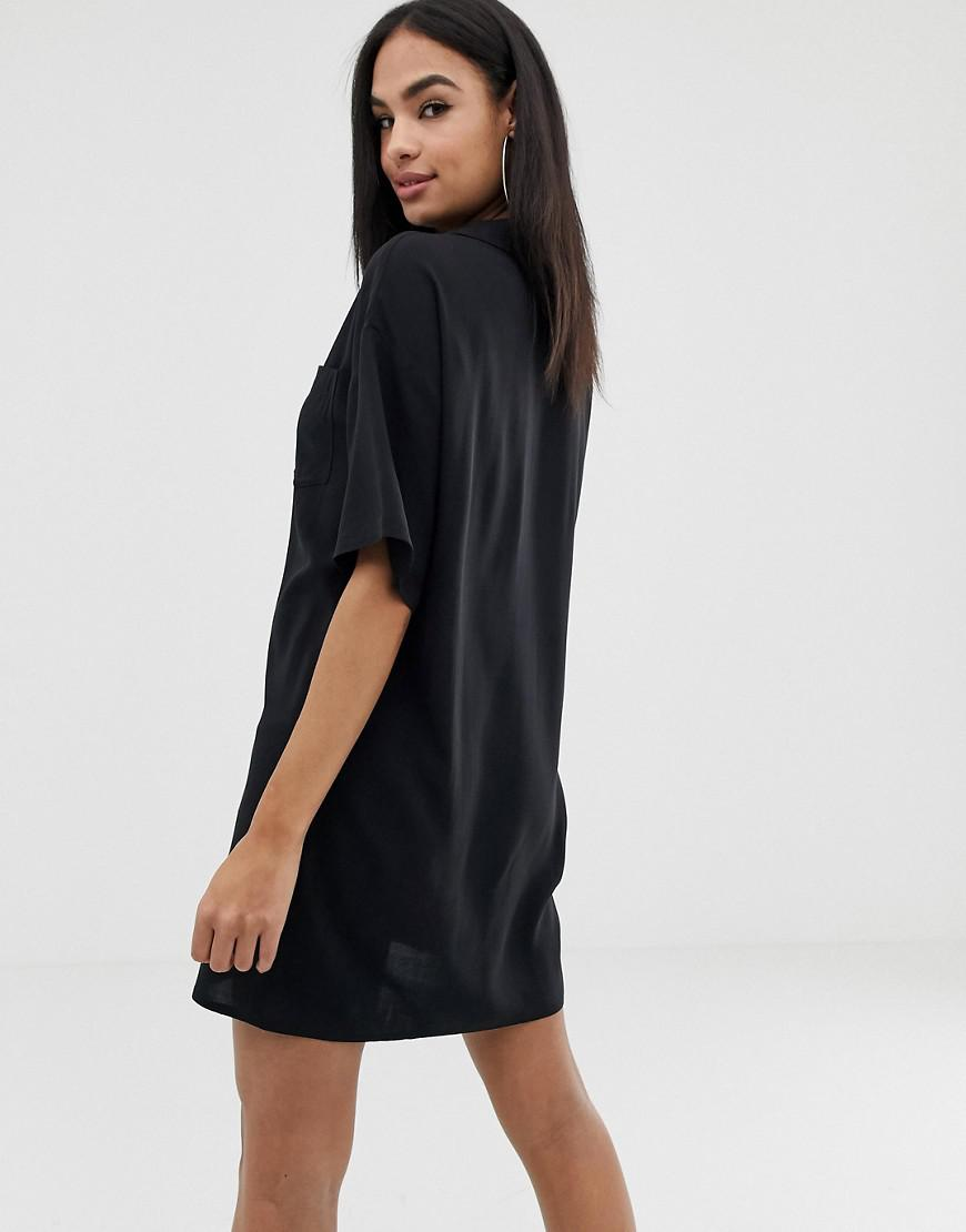 b603e1d6766 Asos Chuck On Mini Shirt Dress With Lace Up in Black - Lyst