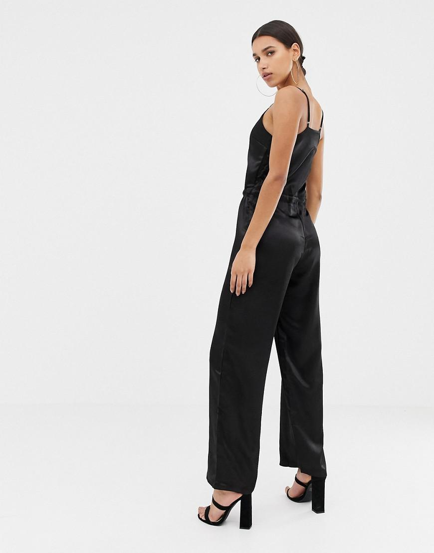 c672266f3dde Missguided Satin Jumpsuit In Black in Black - Lyst