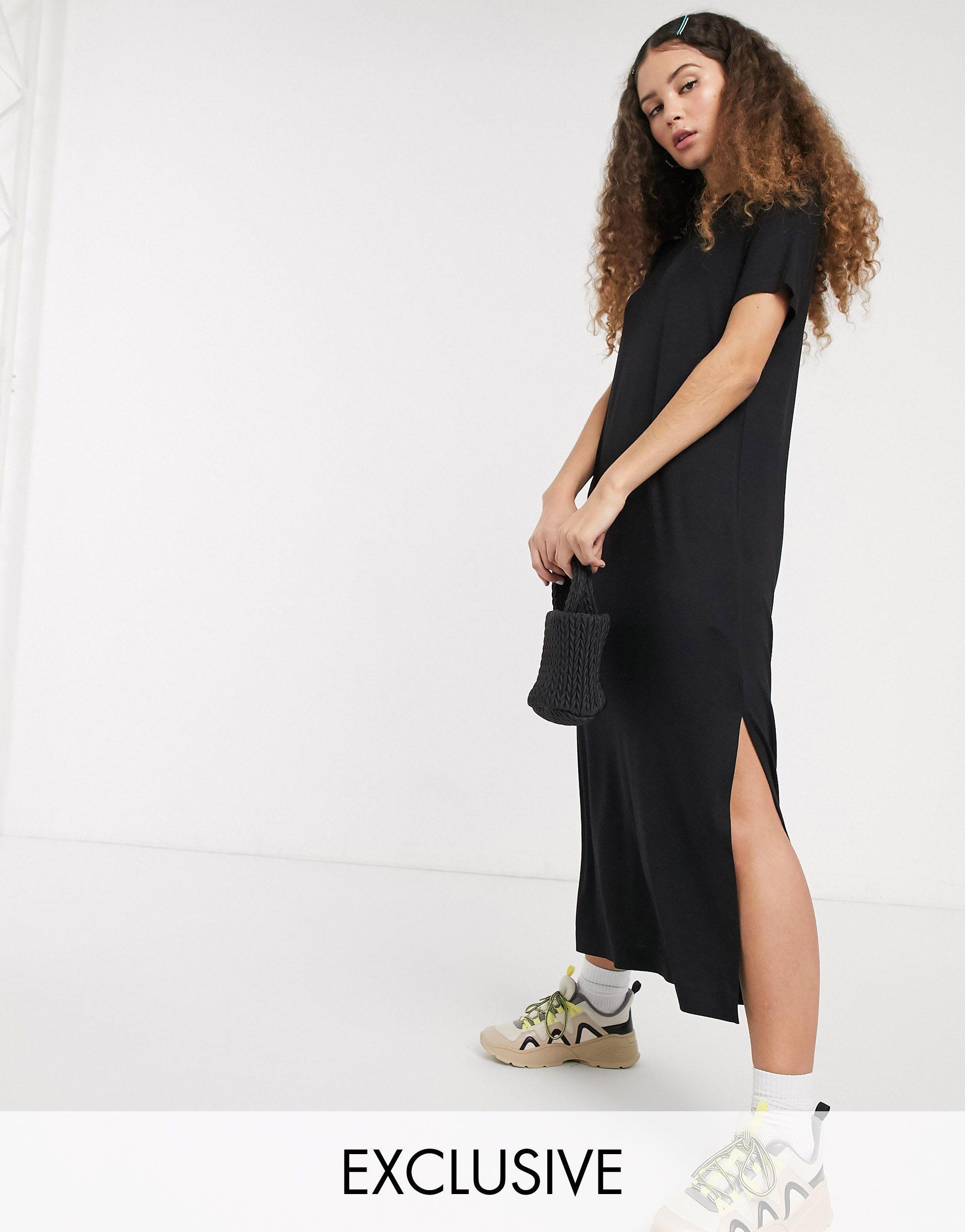 Monki Synthetik – Isabella – es Midi T Shirt Kleid aus Jersey mit ...