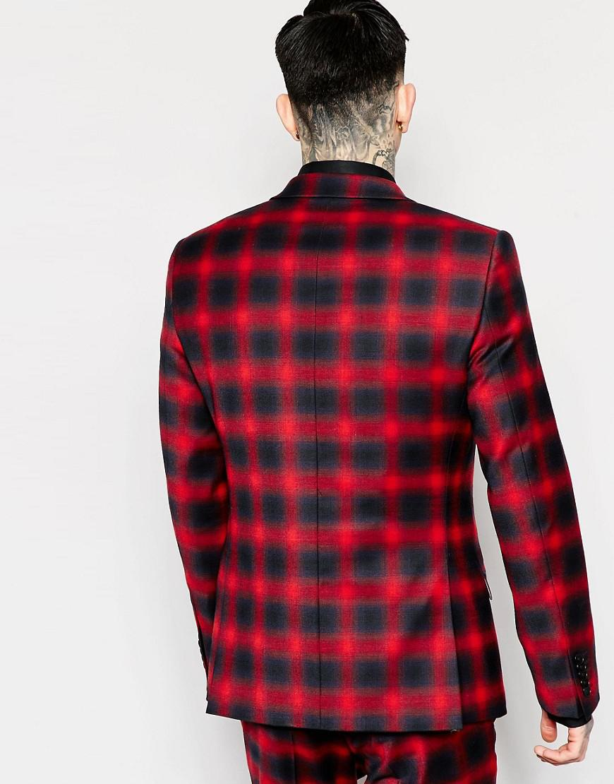 Heart & Dagger Wool Ombre Check Suit Jacket In Super Skinny Fit in Red for Men
