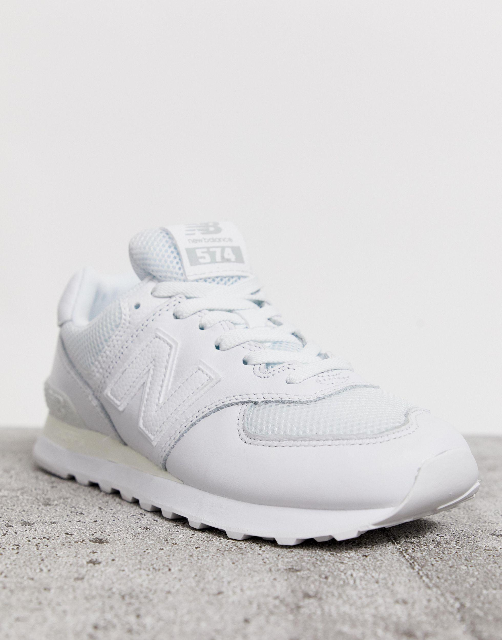 Leather 574 Triple White Trainers