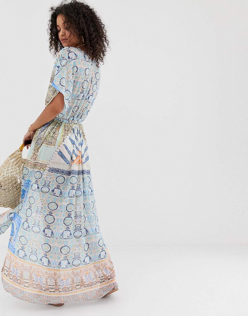 f63b0de510 Pia Rossini Mimoza Maxi Printed Beach Dress in Blue - Lyst