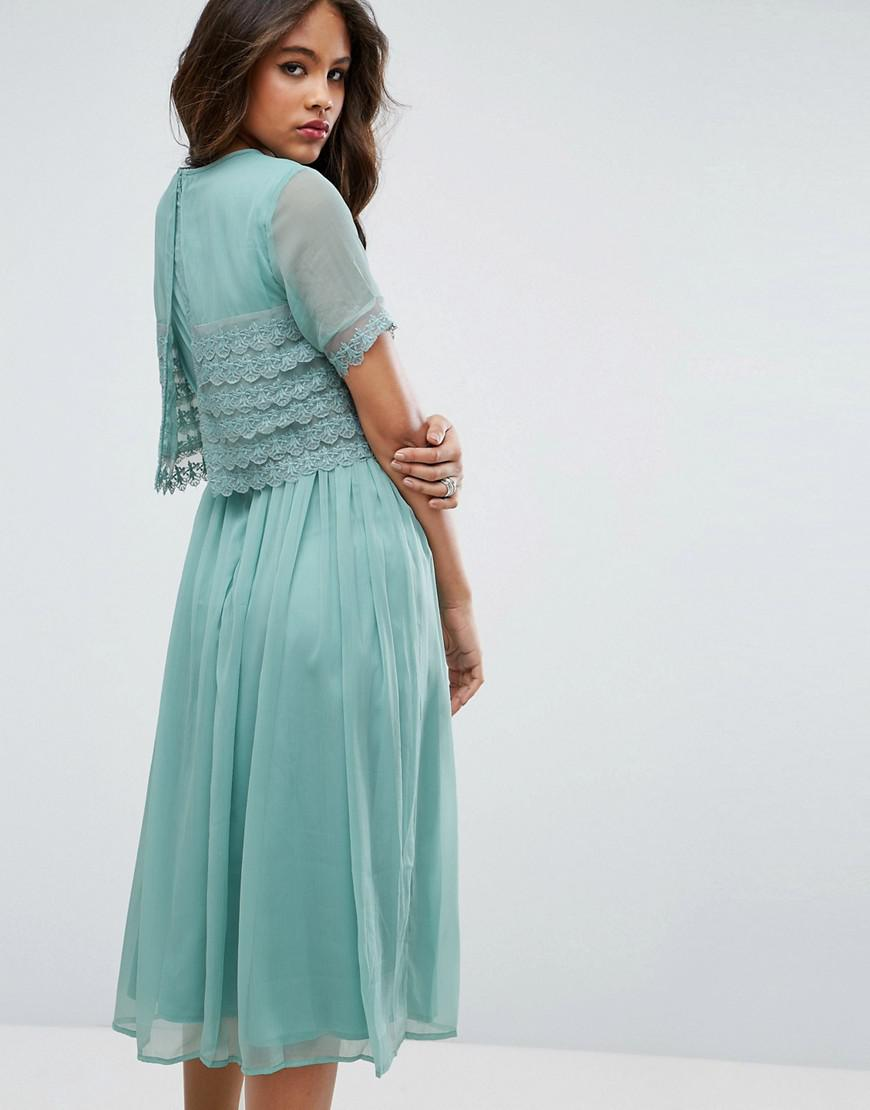 Lyst - Asos Salon Layer Lace Crop Top Midi Prom Dress in Green
