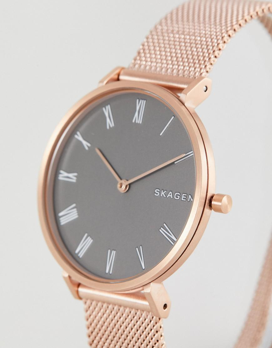 222d29ef5a7b Lyst - Skagen Skw2675 Slim Hald Mesh Watch In Rose Gold in Metallic