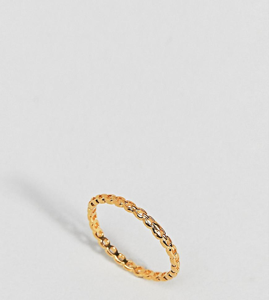 Asos Gold Plated Sterling Silver Vintage Style Chain Ring - Gold PeASOizfBg
