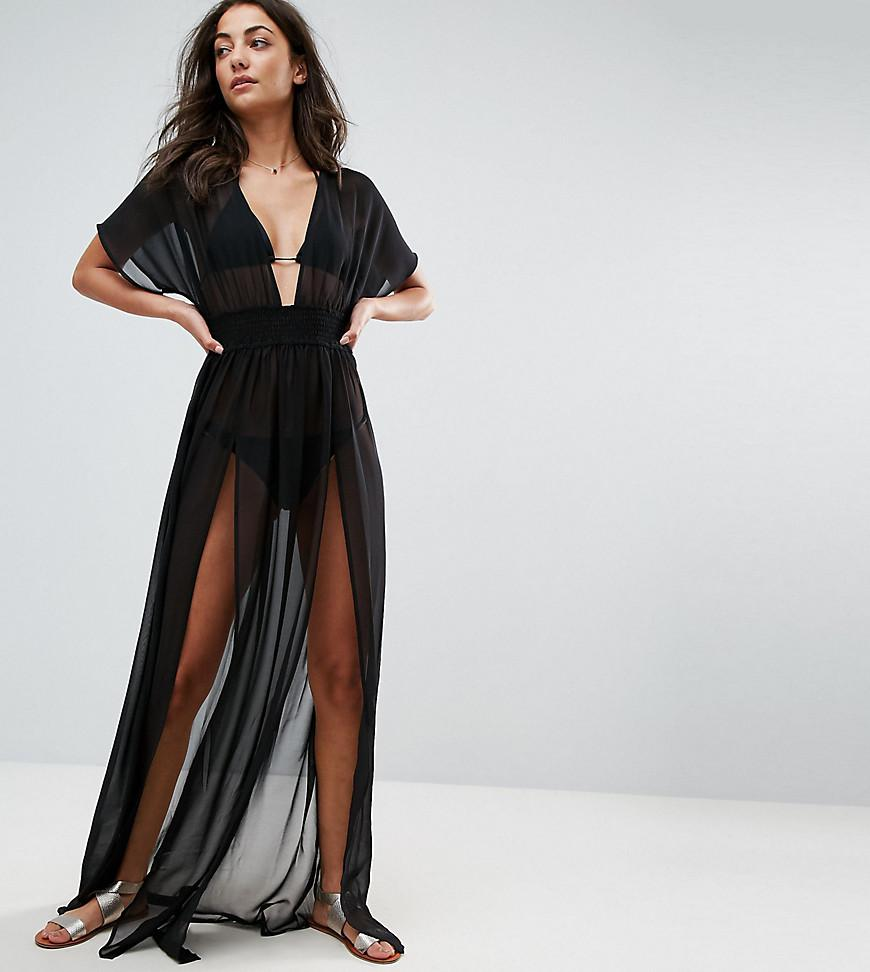 088a9f2c8dc18 ASOS. Women s Black Asos Design Tall Shirred Waist Maxi Chiffon Beach Caftan