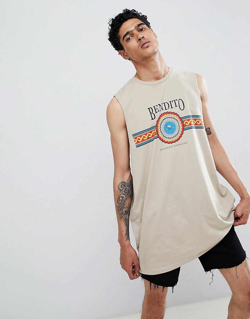 c3dde955d5128 ASOS. Men s Natural Oversized Super Longline Sleeveless T-shirt With Dropped  Armhole ...