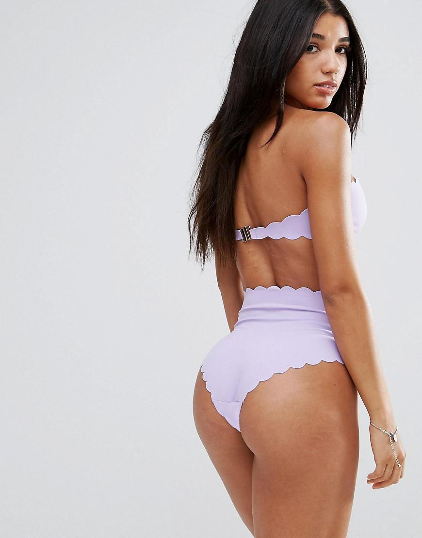 d3267cbcb3f97 Missguided Scallop Trim Bandeau Bikini Top in Purple - Lyst