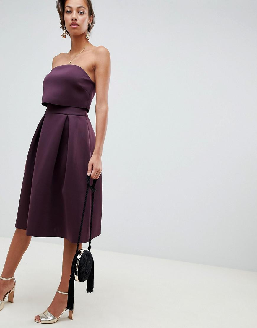e075923960b ASOS Bandeau Crop Top Prom Midi Dress in Purple - Lyst