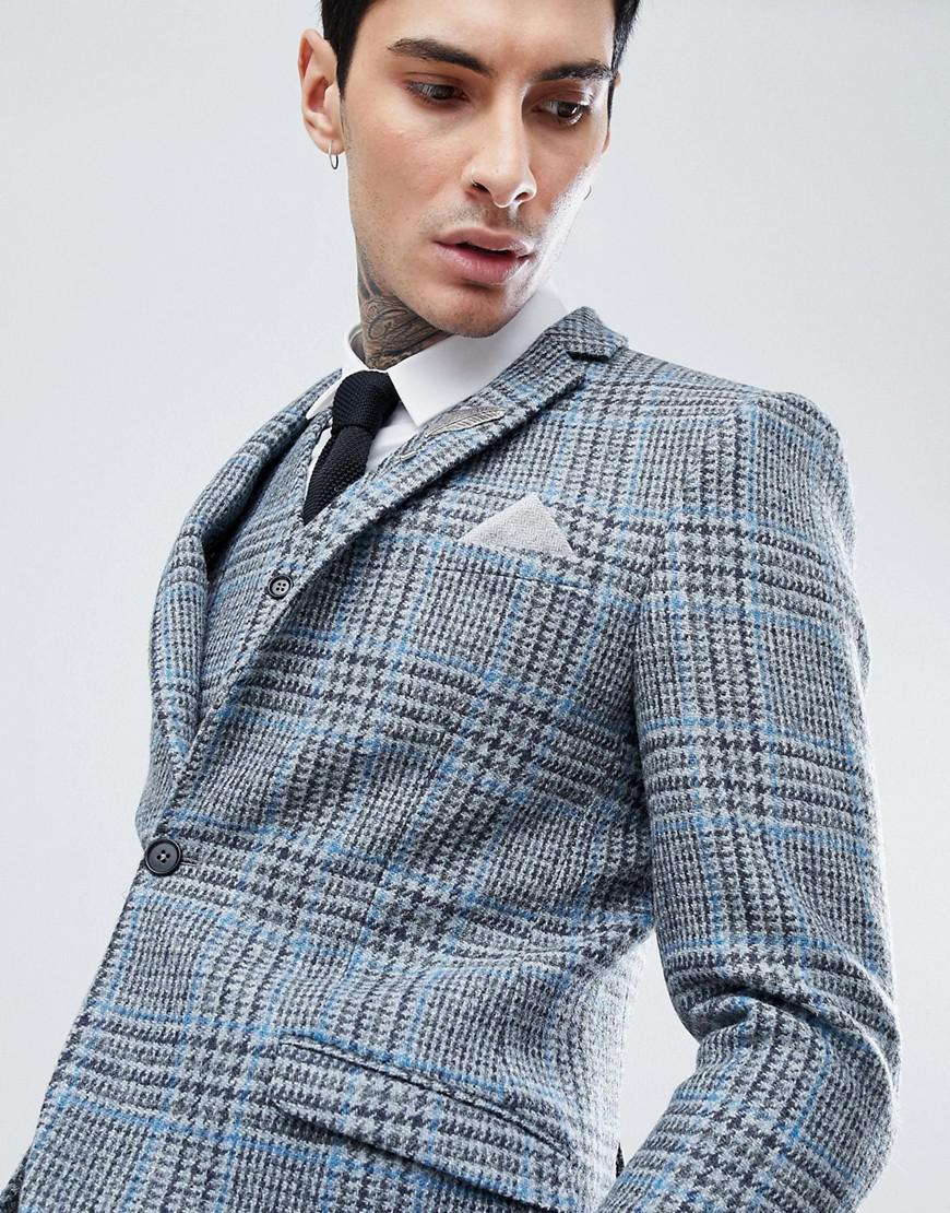 Lyst - Heart & Dagger Skinny Suit Jacket In Harris Tweed In Check in ...
