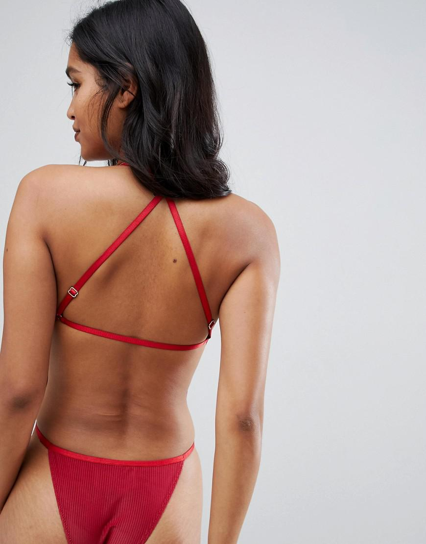 Lyst - ASOS High Shine Strappy Back Bodysuit in Red d45413fda