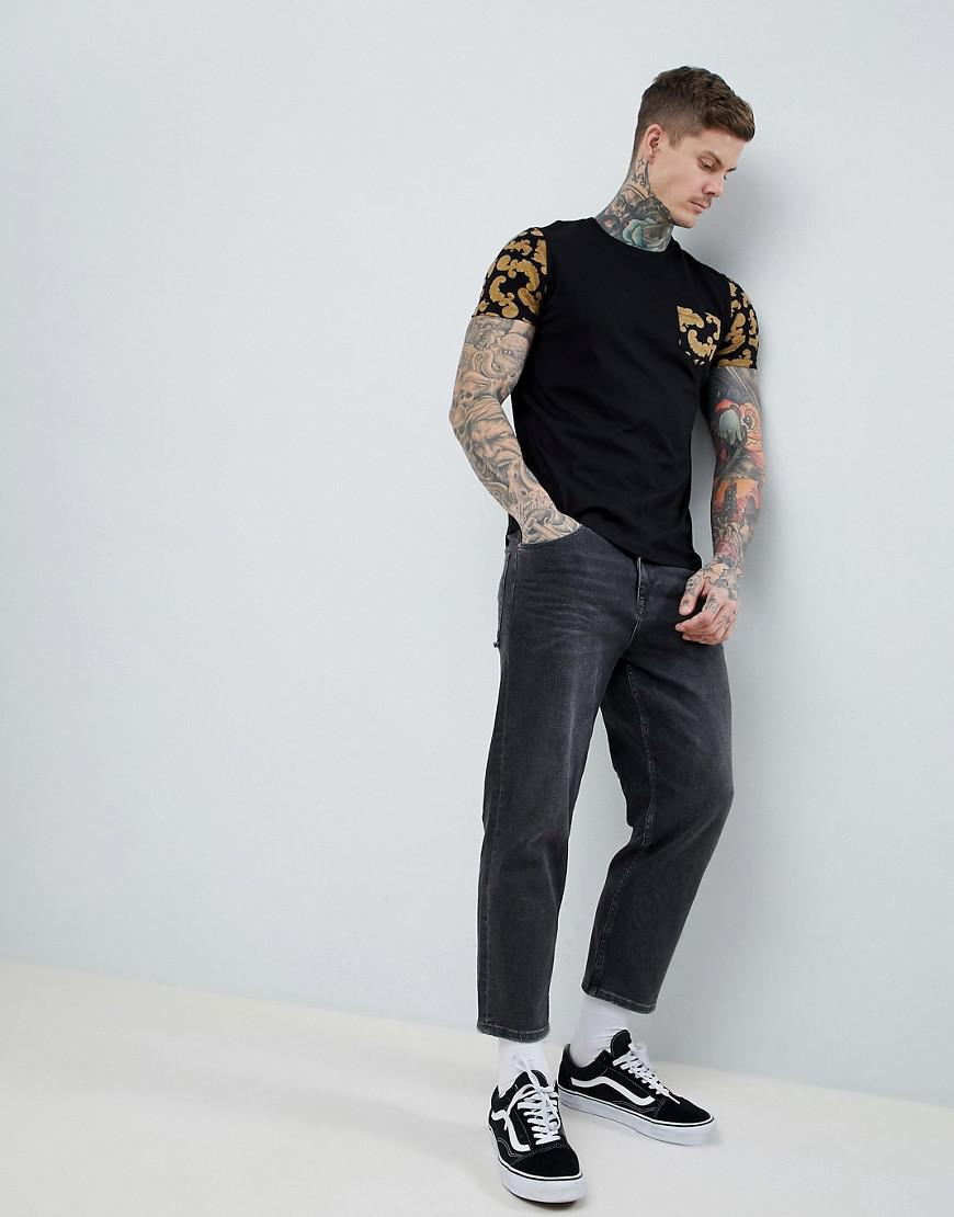 DESIGN t-shirt with baroque print sleeves and pocket - Black Asos 2018 For Sale llaAXdd