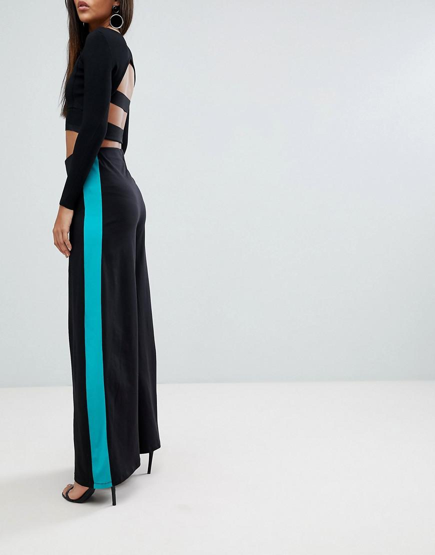 0d9bd9554f32 Lyst - ASOS Asos Design Tall Wide Leg Pants With Contrast Side Stripe in  Black