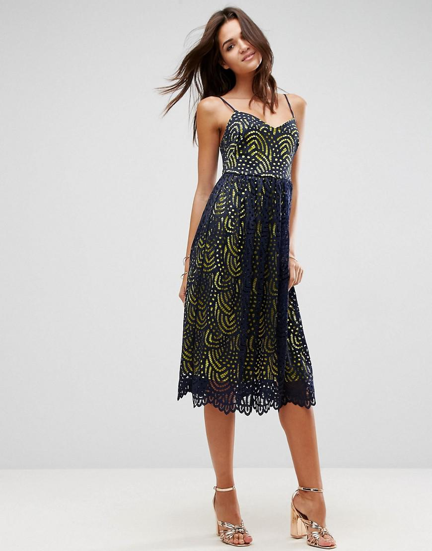 17fefaeeb1 ASOS Asos Contrast Lace Cami Midi Prom Dress in Blue - Lyst
