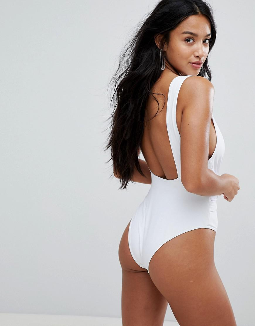 a49d2a9209bd2 ASOS Asos Design Petite Recycled Plunge Ruched Front Swimsuit in ...