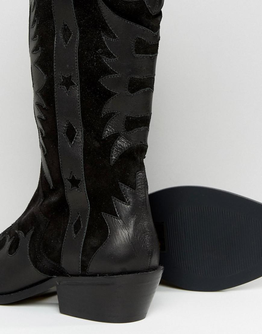 CACTUS Leather Western Knee High Boots - Black Asos 3gkHrVvym1